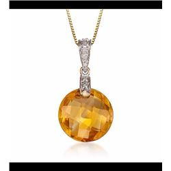 """5.67 Carat Citrine Pendant Necklace With Diamond Accents in 14kt Yellow Gold. 18"""""""