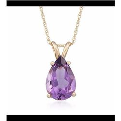 2.80 Carat Amethyst Pendant Necklace in 14kt Yellow Gold. 18