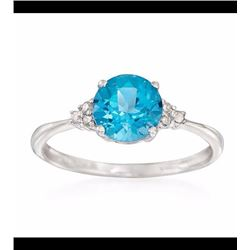 1.65 Carat Blue Topaz Ring With Diamond Accents in 14kt White Gold