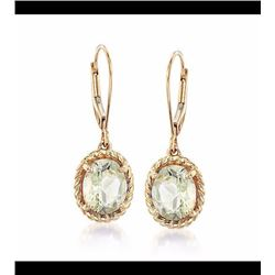 3.20 ct. t.w. Green Amethyst Twisted Frame Drop Earrings in 14kt Yellow Gold.