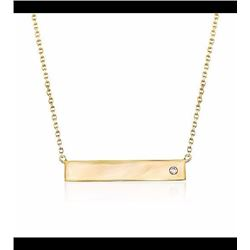 14kt Yellow Gold Bar Necklace With Diamond Accent. 16""