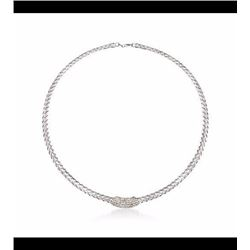 .33 ct. t.w. Diamond Station Braided Collar Necklace in Sterling Silver