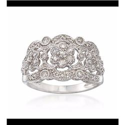 .19 ct. t.w. Diamond Openwork Ring in Sterling Silver