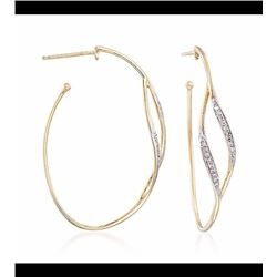 .11 ct. t.w. Diamond Open Hoop Earrings in 14kt Yellow Gold. 1 3/8""