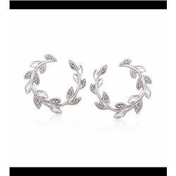 """.10 ct. t.w. Diamond Laurel Wreath Hoop Earrings in Sterling Silver. 3/4"""""""