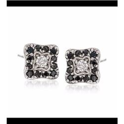 .50 ct. t.w. Black and White Diamond Square Stud Earrings in 18kt White Gold