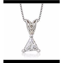 ".27 Carat Trillion-Cut Diamond Solitaire Necklace in 14kt White Gold. 18"""