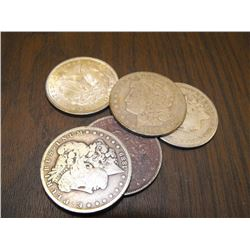 5 Assorted Morgan Silver Dollars