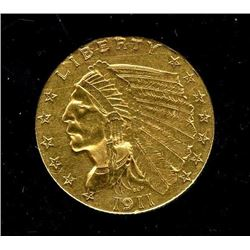 1911 $ 2.5 Gold Indian Quarter Eagle