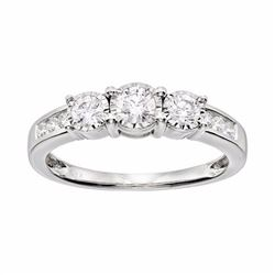 Diamond 3-Stone Engagement Ring in 10k White Gold (1/2 Carat T.W.)