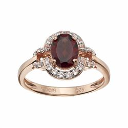 14k Rose Gold Over Silver Garnet & White Topaz Halo Ring
