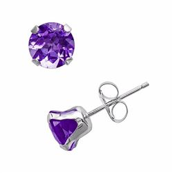 10k White Gold Amethyst Stud Earrings