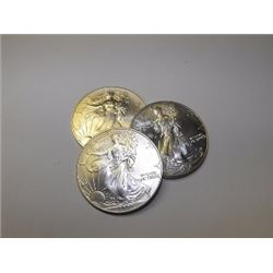 Lot of (3) Various Random Date Silver Eagles