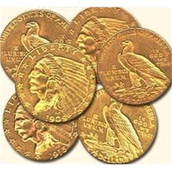 (6) $ 2.5 Indians VG-AU Grade Random Dates