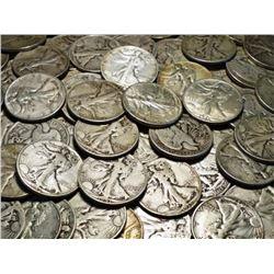 Lot of (50) Walking Liberty Half Dollars