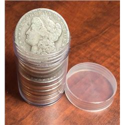 Lot of (20) Morgan Silver Dollars in Clear Tube