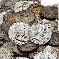 Lot of 50 Franklin Half Dollars 90% Silver
