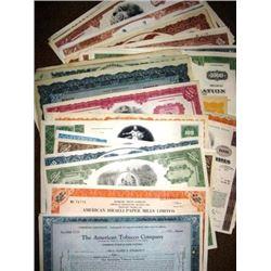 Lot of 50 Obsolete Stock Certificates - Great Art
