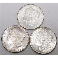 1878-1879-1881 s Morgan Dollars CH BU