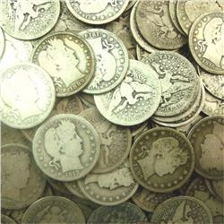 Lot of 100 Barber Quarters 90% Silver