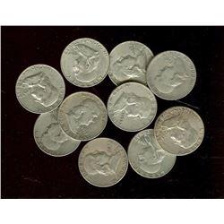 Lot of 10 Franklin Half oOllars 90% Silver