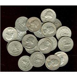 Lot of (20) Washington Quarters- 90% Silver