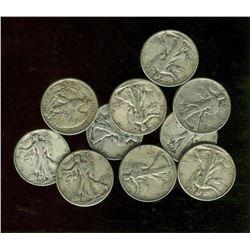 Lot of 10 Walking Liberty Half Dollars 90% Silver