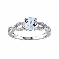 Aquamarine & Diamond Accent Infinity Engagement Ring in 10k White Gold