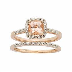 14k Rose Gold Morganite & 1/8 Carat T.W. Diamond Halo Engagement Ring Set