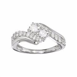 10k White Gold 1/2 Carat T.W. Diamond 2-Stone Bypass Engagement Ring