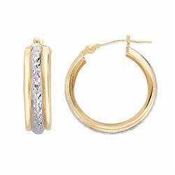 10k Gold Two Tone Textured Hoop Earrings