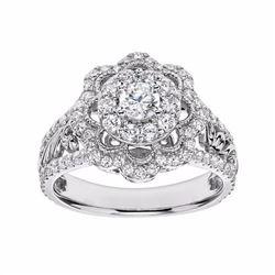 Diamond Flower Engagement Ring in 14k White Gold (1 Carat T.W.)