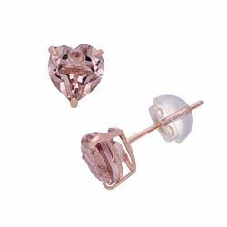 14k Rose Gold Morganite Triplet Stud Earrings