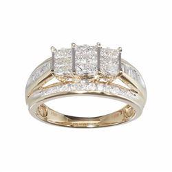 10k Gold 1 Carat T.W. Diamond Cluster Engagement Ring