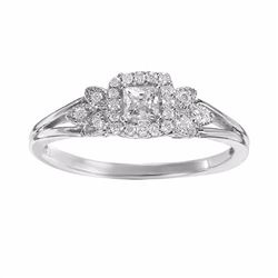 Diamond Leaf Halo Engagement Ring in 14k White Gold (1/4 ct. T.W.)