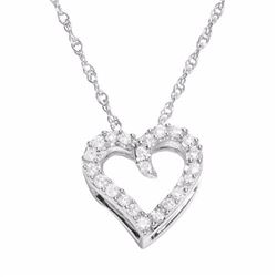 Diamond 10k White Gold 1/10-ct. T.W. Diamond Heart Pendant