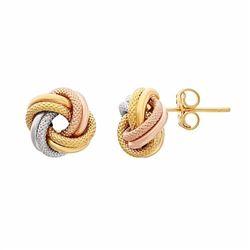 Tri-Tone 10k Gold Love Knot Stud Earrings