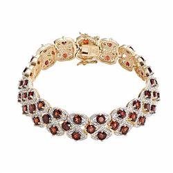18k Gold-Plated Garnet & Diamond Accent Openwork Bracelet