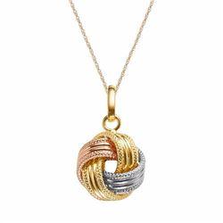 14k Gold Tri-Tone Textured Love Knot Pendant