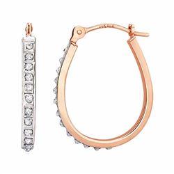 14k Gold Diamond Accent Pear Hoop Earrings