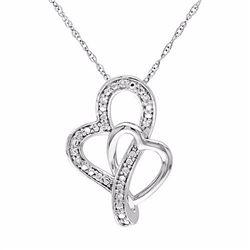 Diamond Accent 10k White Gold Double Heart Pendant Necklace