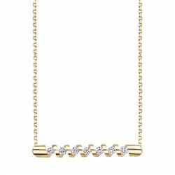 14k Gold 1/4 Carat T.W. Certified Diamond Zigzag Necklace