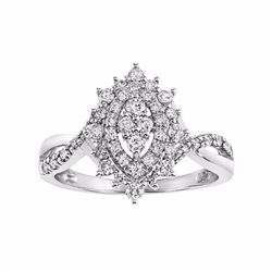 Diamond Double Halo Marquise Engagement Ring in 10k White Gold (1/2 Carat T