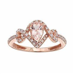 Morganite & 1/8 Carat T.W. Diamond 10k Rose Gold Teardrop Ring