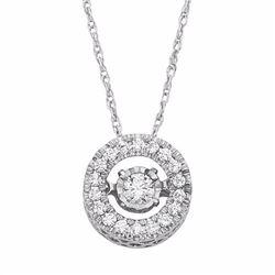 1/4 Carat T.W. Diamond 10k White Gold Halo Pendant Necklace