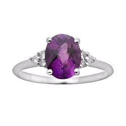 10k White Gold Amethyst & Diamond Accent Ring