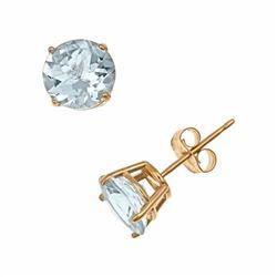 14k Gold Aquamarine Stud Earrings