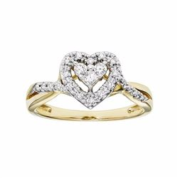 10k Gold 1/4 Carat T.W. Certified Diamond Heart Engagement Ring