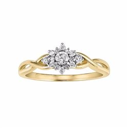 Diamond Flower Engagement Ring in 10k Gold (1/4 Carat T.W.)