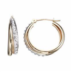 10k Gold Interlocking Hoop Earrings
